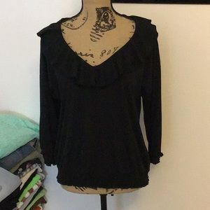 Ruffle neckline rouched bottom black blouse